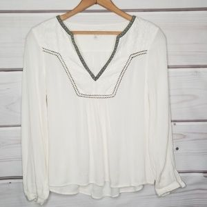 H&M Embroidered Gauzy Top Size 4
